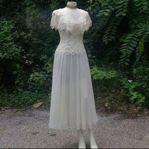 *HP*Jessica McClintock ivory lace tea dress EVC
